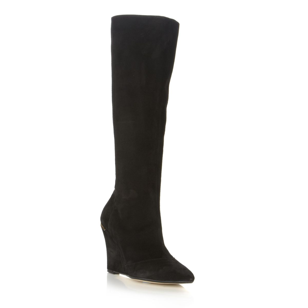 NEW-DUNE-SAMIRAH-WOMENS-BLACK-LADIES-SUEDE-KNEE-HIGH-WEDGE-BOOTS-SHOES-SIZE-3-8