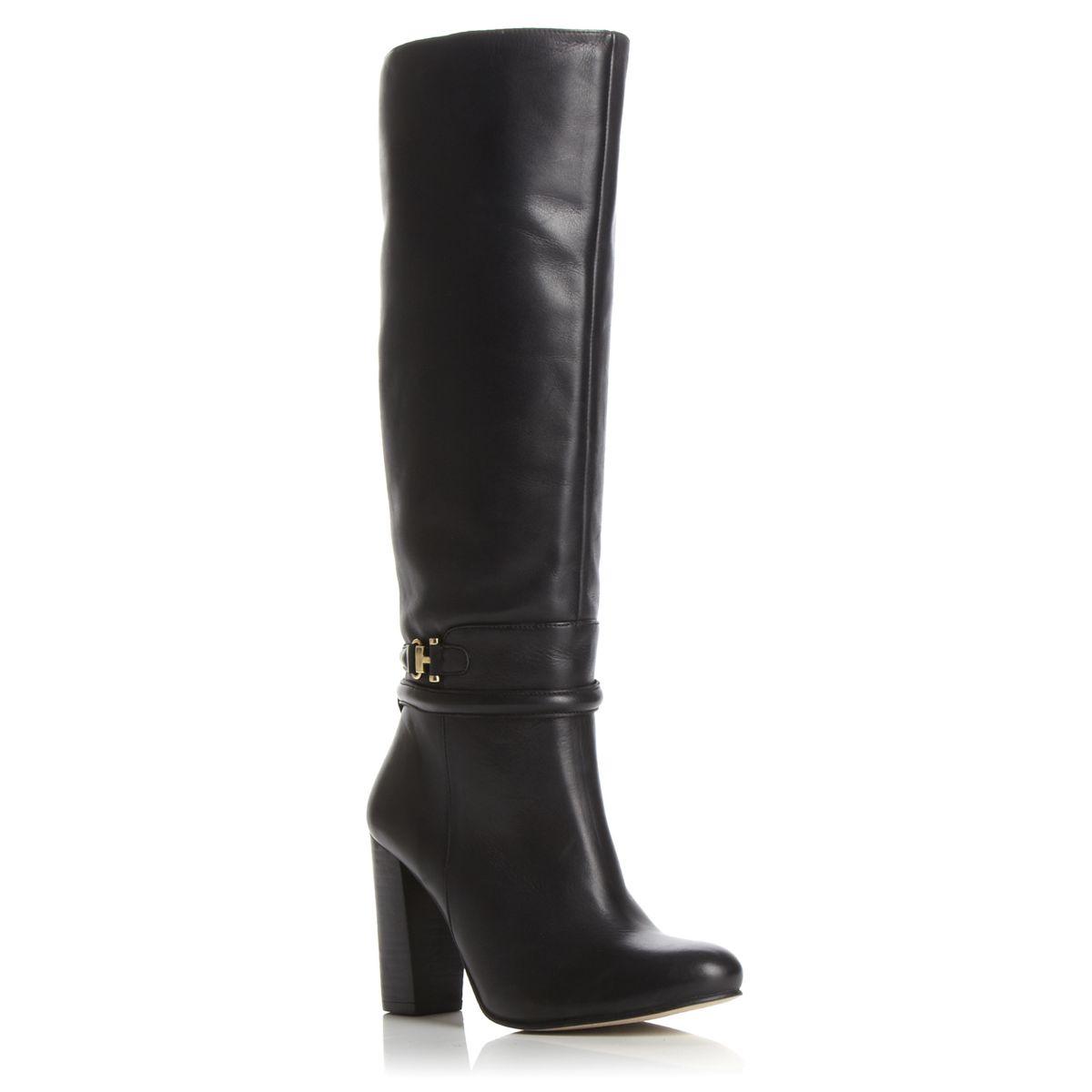 new dune talissa womens black gold trim heeled knee high