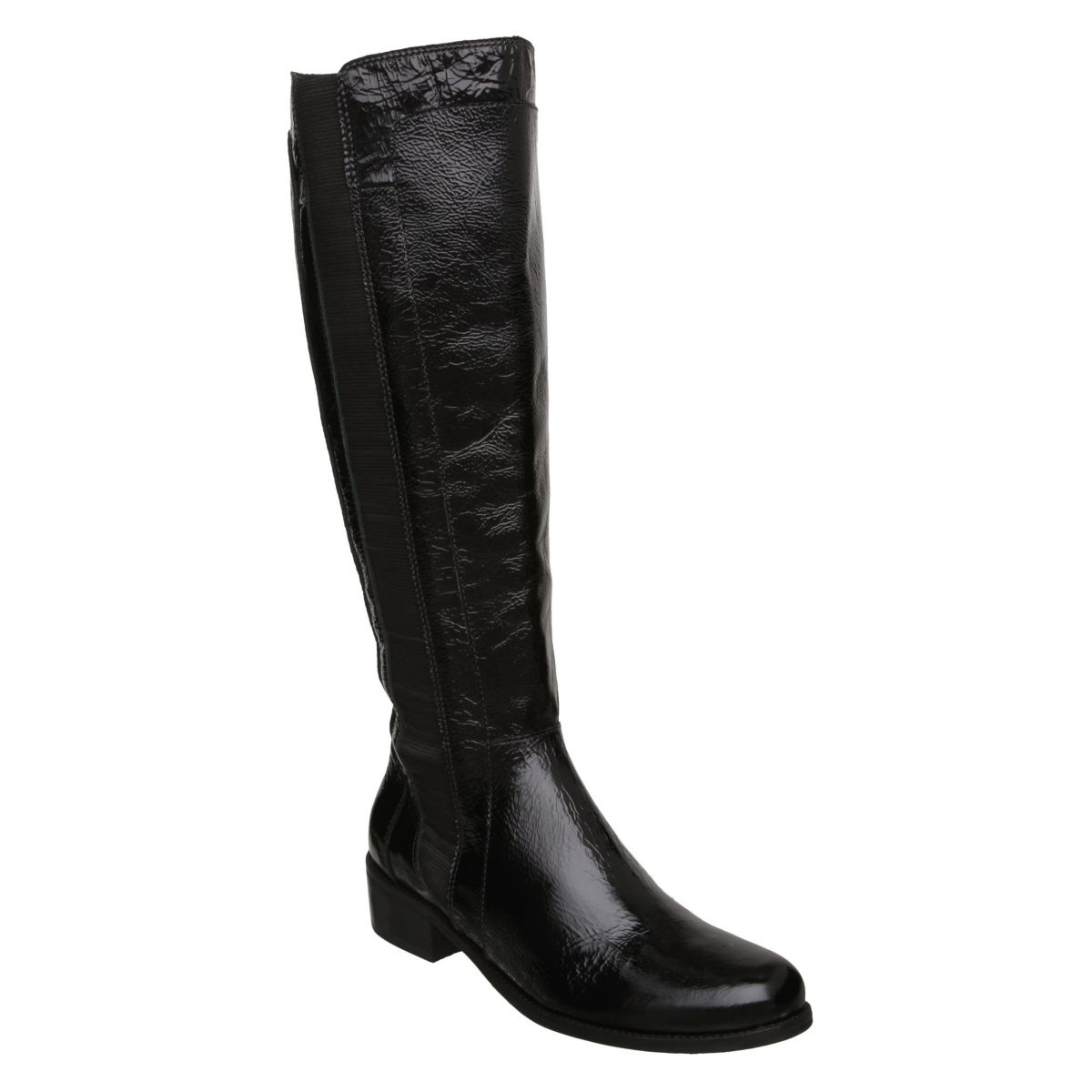 DUNE-THORPE-WOMENS-BLACK-LEATHER-ELASTICATED-PATENT-RIDING-BOOTS-SHOES-SIZE-3-8