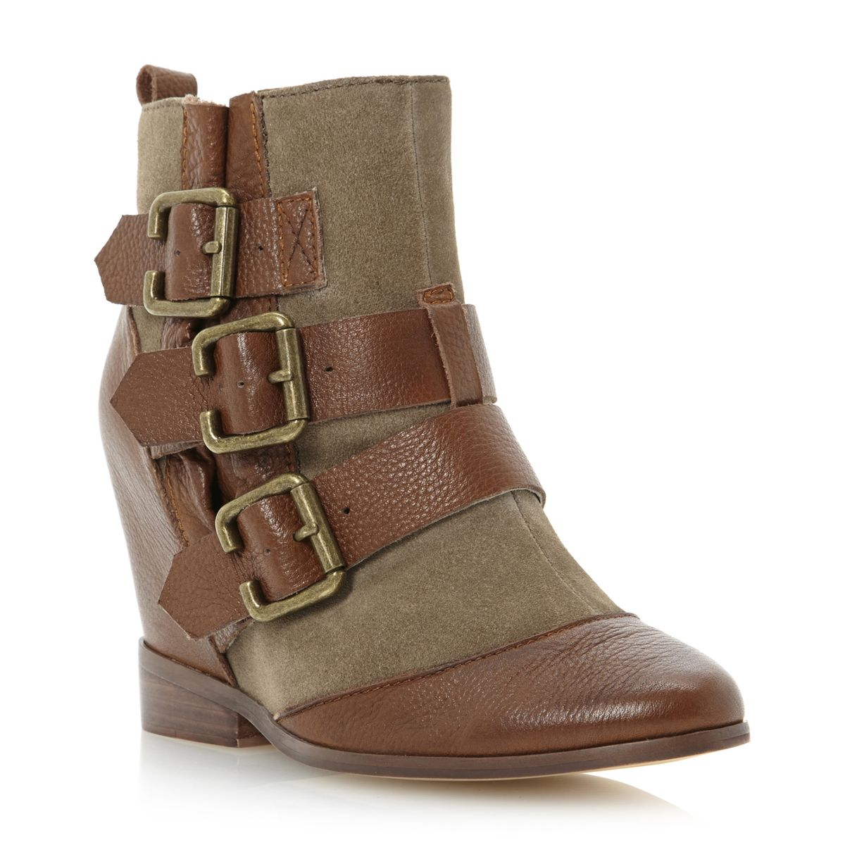 dune python womens brown leather suede wedge