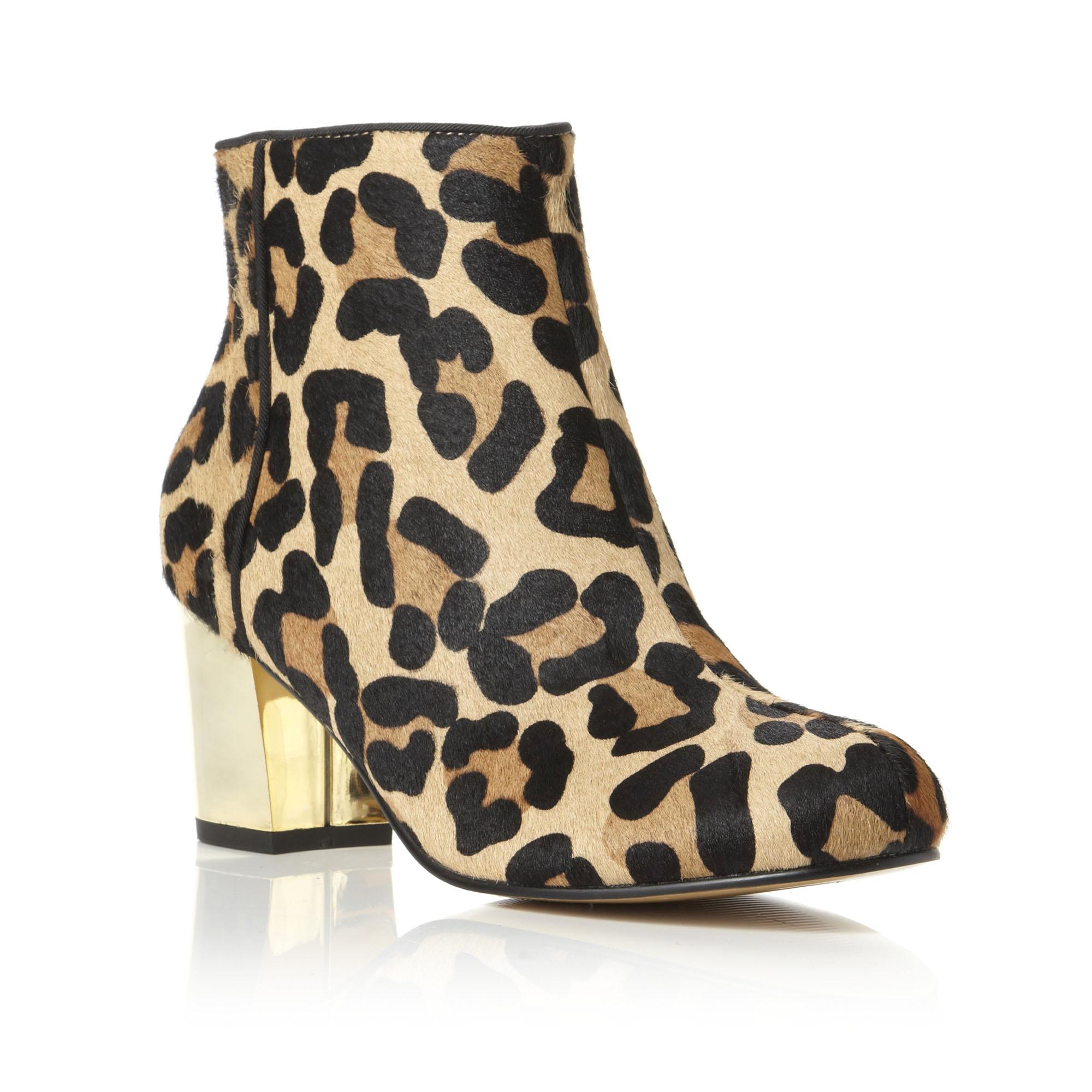 dune nora womens leopard print gold block heel