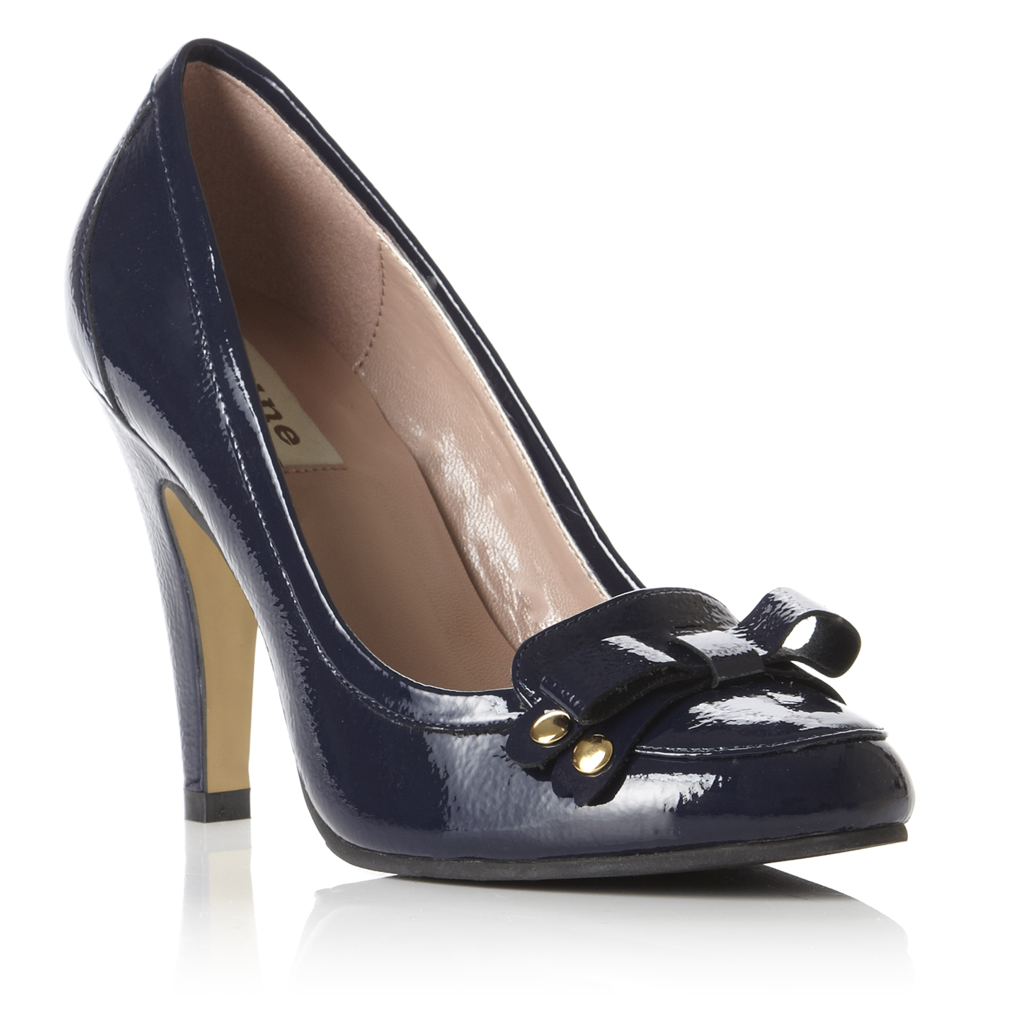 DUNE LADIES AUDIOFLY WOMENS NAVY BLUE PATENT BOW HEELED COURT SHOES ... 157ee174000a
