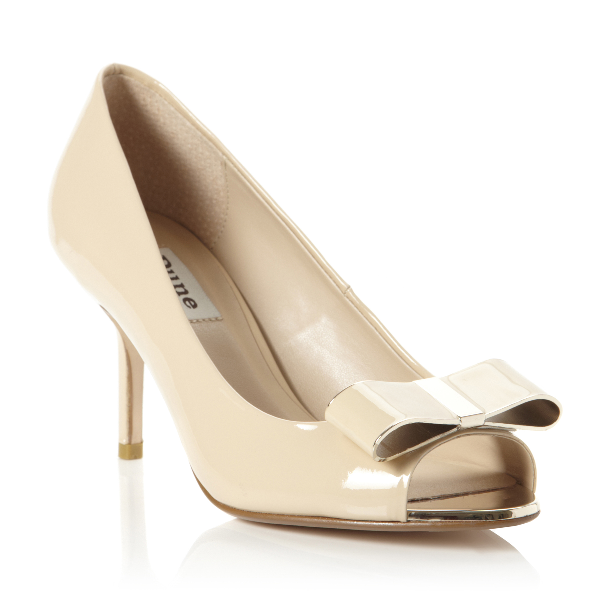 DUNE-LADIES-DEMURE-WOMENS-NUDE-PEEP-TOE-STILETTO-HEEL-BOW-COURT-SHOES-SIZE-3-8