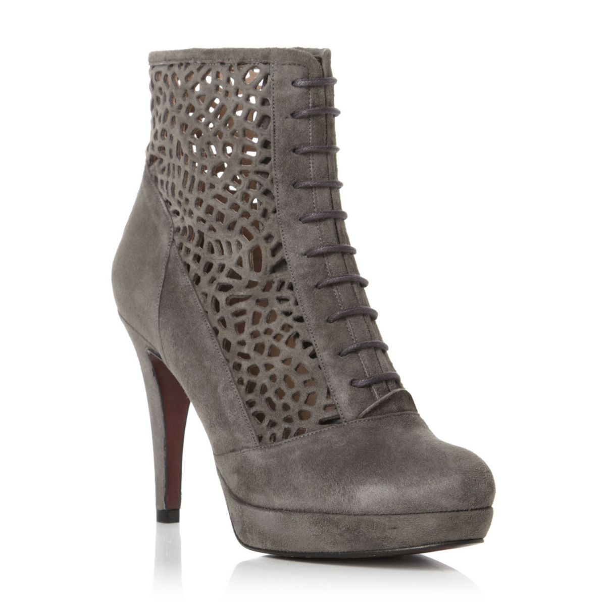 PIED-A-TERRE-LADIES-SIDNEY-WOMENS-BROWN-CUT-OUT-HIGH-HEEL-ANKLE-BOOTS-SIZE-3-8
