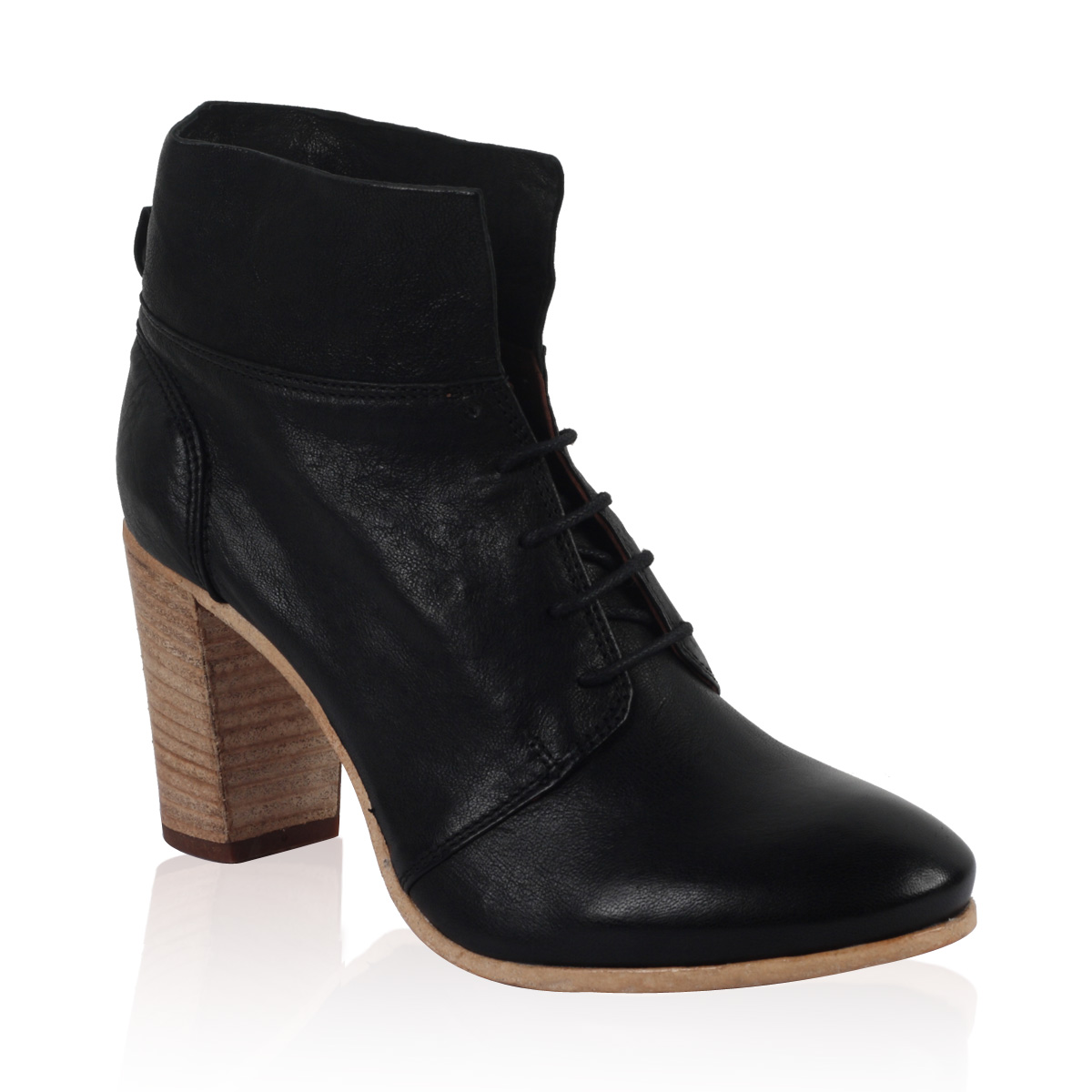 PIED-A-TERRE-LADIES-PANNA-WOMENS-BLACK-BLOCK-HEEL-LACE-UP-ANKLE-BOOTS-SIZE-3-8