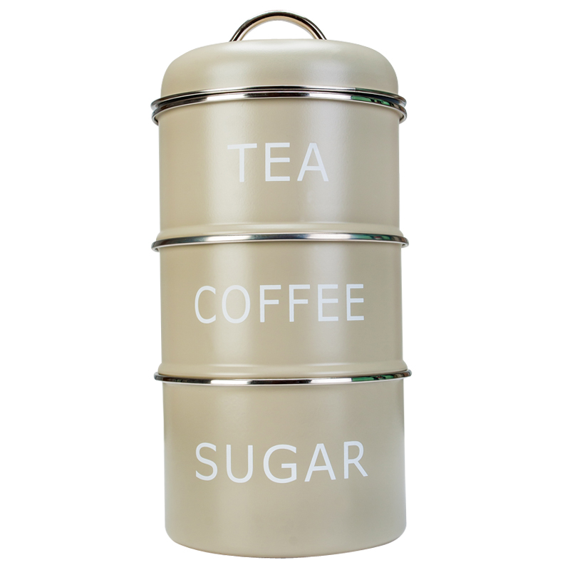 Pale Green Home Sweet Home Tea Coffee Sugar Vintage Retro Stackable Canisters Ebay