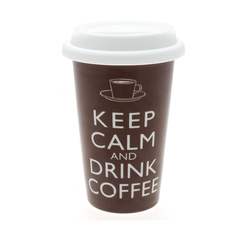 New Brown Keep Calm And Drink Coffee Cup Ceramic Insulated