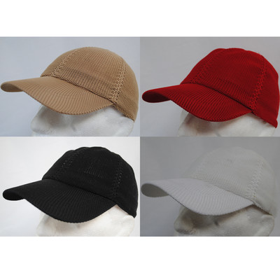 MESH KNITTED PLAIN FITTED SUMMER BASEBALL HAT CAP BLACK ...