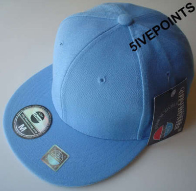 NEW-PLAIN-FLAT-PEAK-FITTED-HAT-CAP-BLACK-GREEN-NAVY