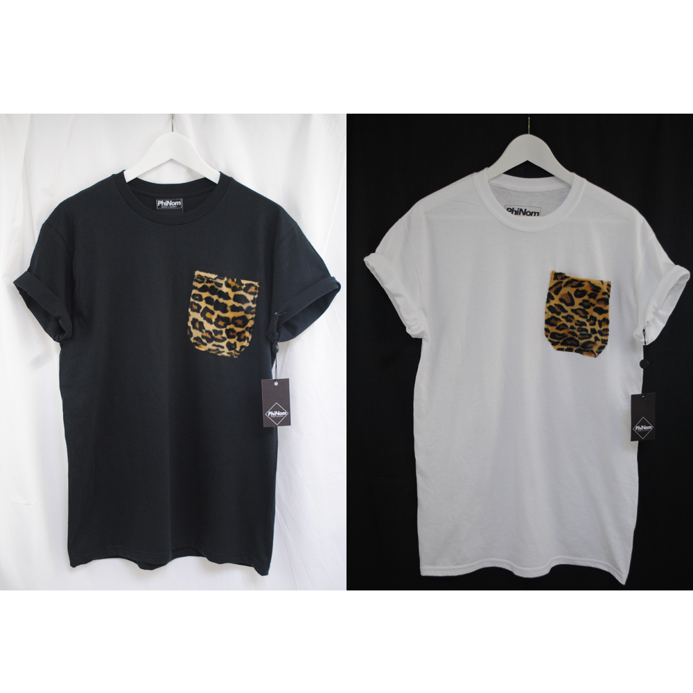 T shirt white ebay - Image Is Loading Phinom Fur Leopard Pocket Black White Supreme T