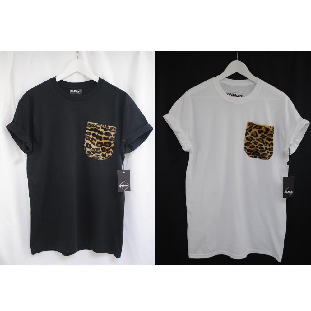 Black t shirt ebay - Image Is Loading Phinom Fur Leopard Pocket Black White Supreme T