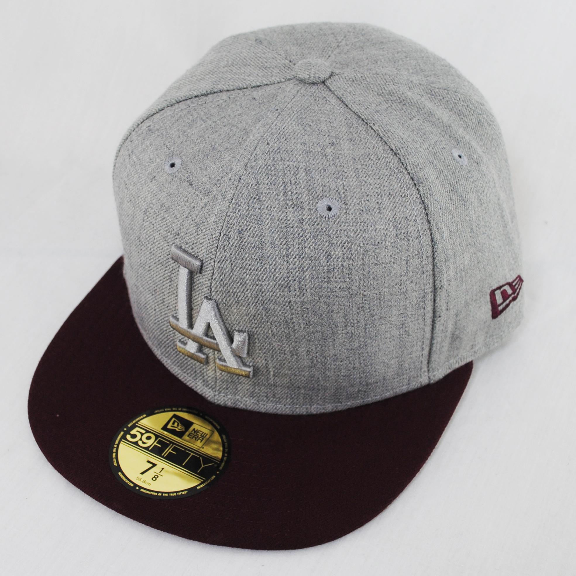Dodger Hats Lids: New Era 59fifty LA Dodgers Poptonal Maroon Heather Flat