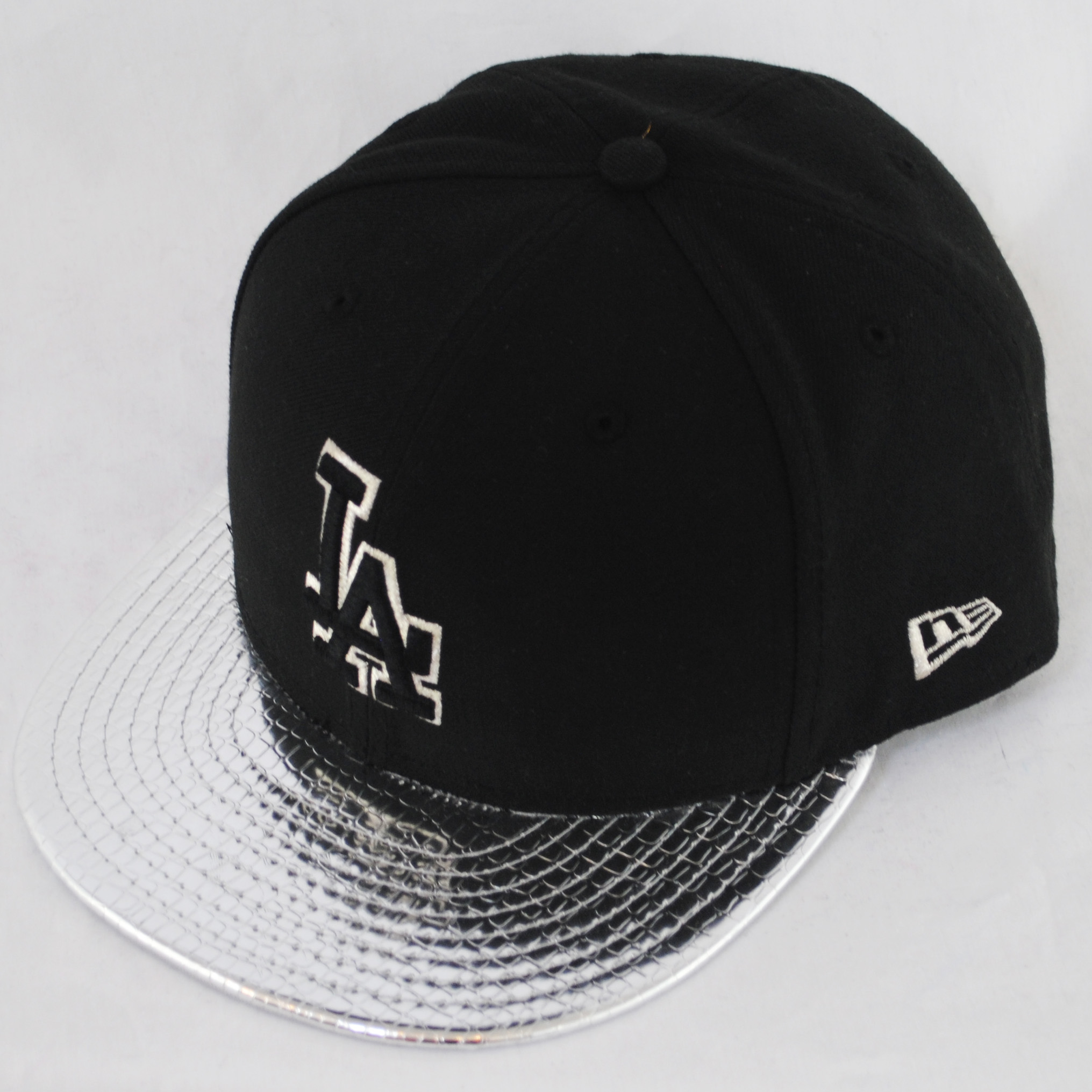 era fifty la dodgers metallic slither silver fitted  hat cap ebay