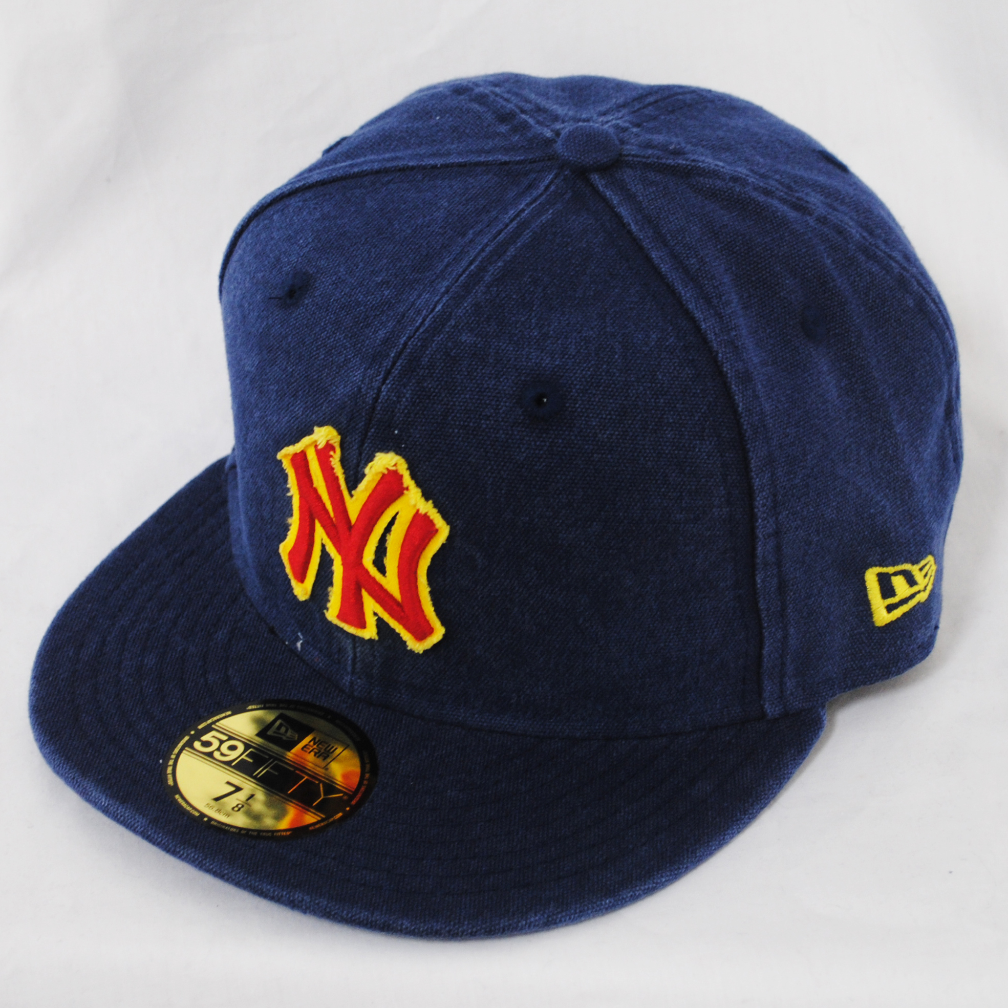 New Era 59fifty Ny Yankees Canvas Wash Blue Fitted Flat