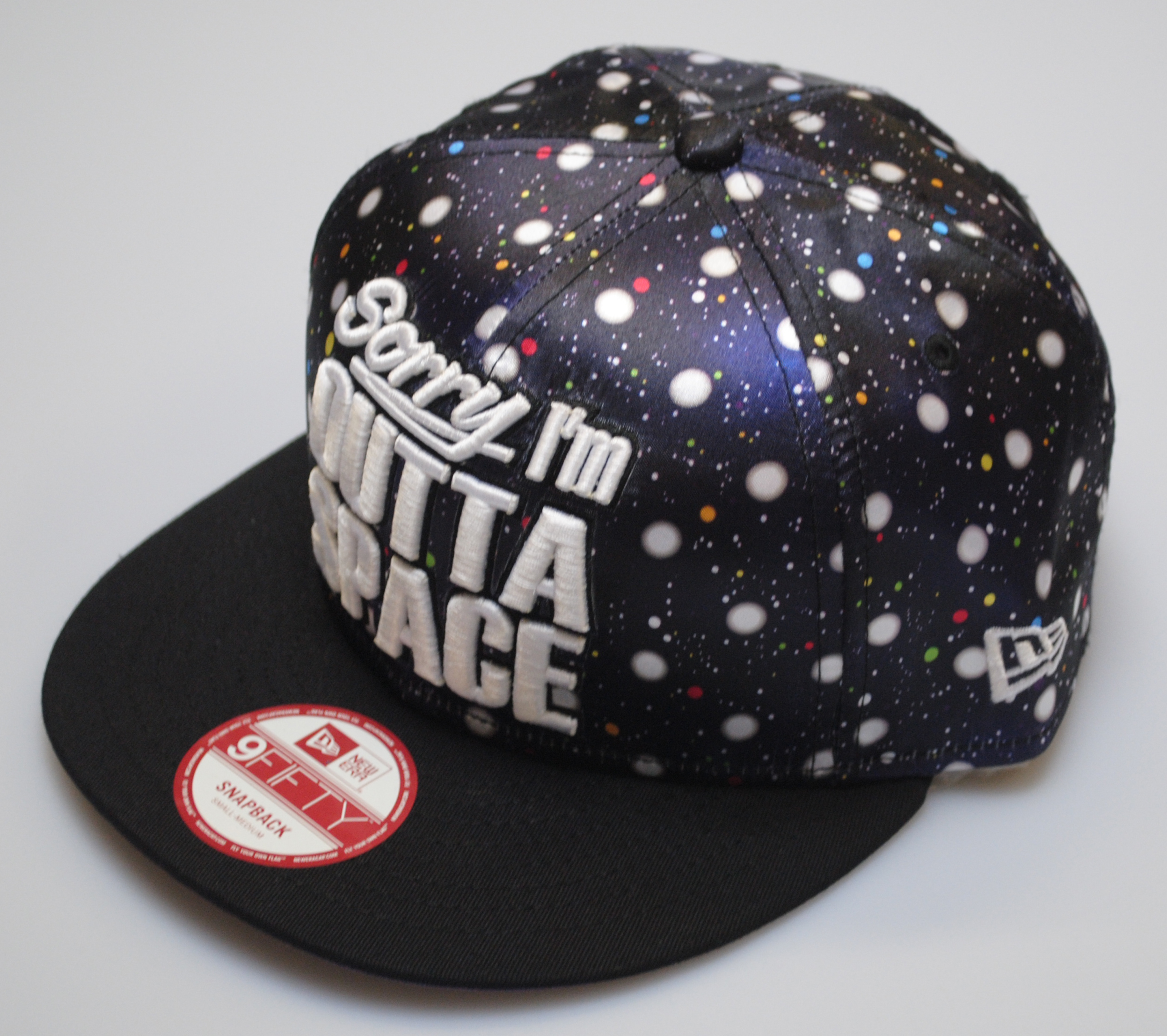 New Era 9fifty Sorry I'm Outta Space Hat Satin Black Baseball Snapback Cap S/M