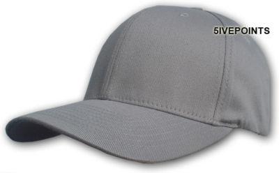 PLAIN flexfit FITTED BASEBALL CAP HAT *GREY* L/XL