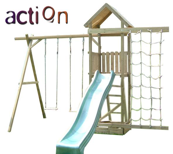 Action Arundel Tower Wooden Climbing Frame Sandpit Swing