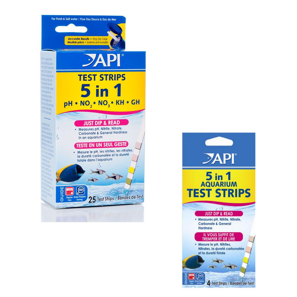 Api aquarium 5 in 1 water test kit testing fresh or salt for Fish tank test strips