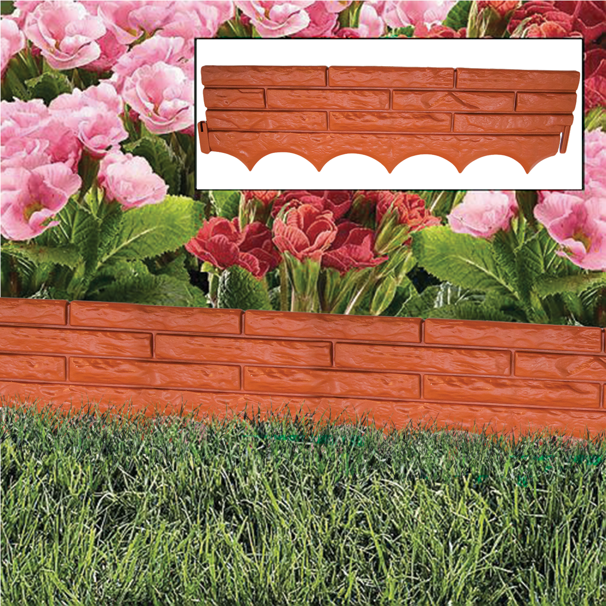 RED BRICK WALL GARDEN EDGING PLASTIC LAWN FLOWER BED BORDER GRASS PATH LINER