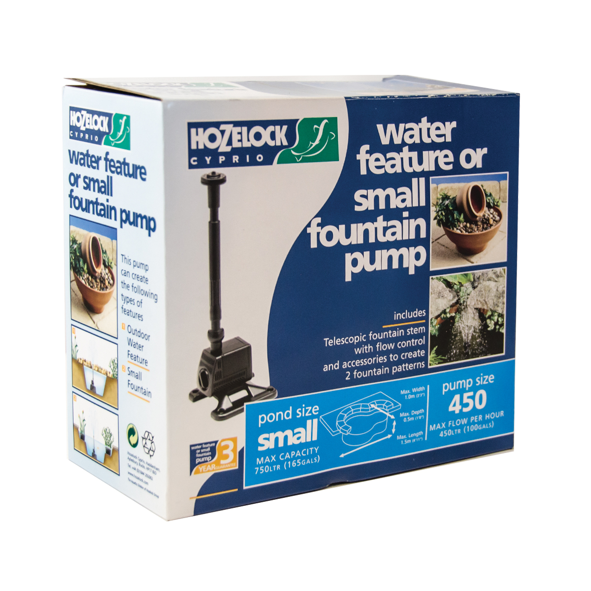 Hozelock 450lph pond submersible water feature pump for Water feature pump