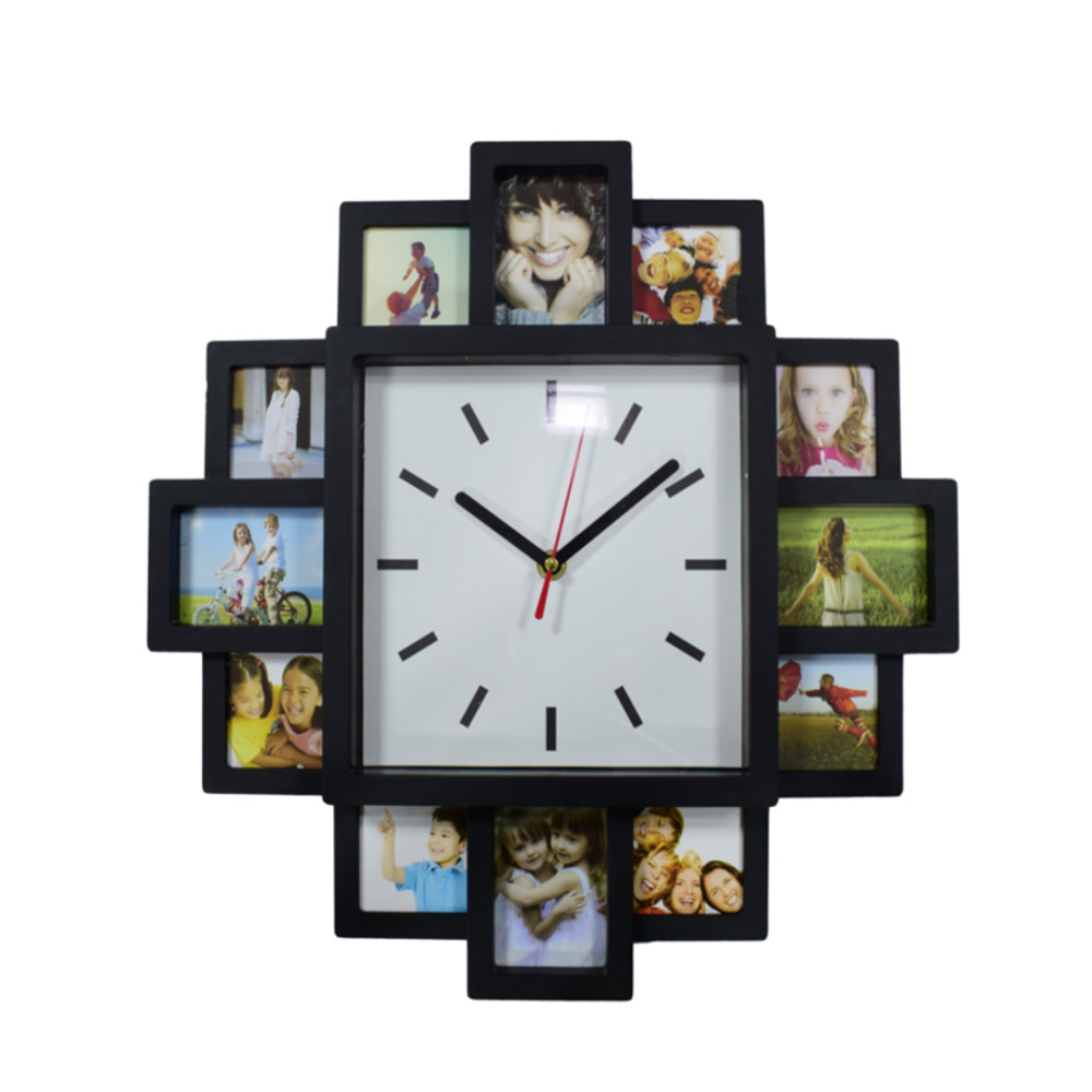Home indoor 12 photo frame wall mounted clock black modern for Modern collage frame