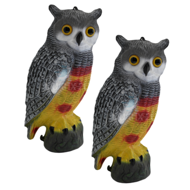 Twin Pack of Decorative Decoy Owls - Pisces