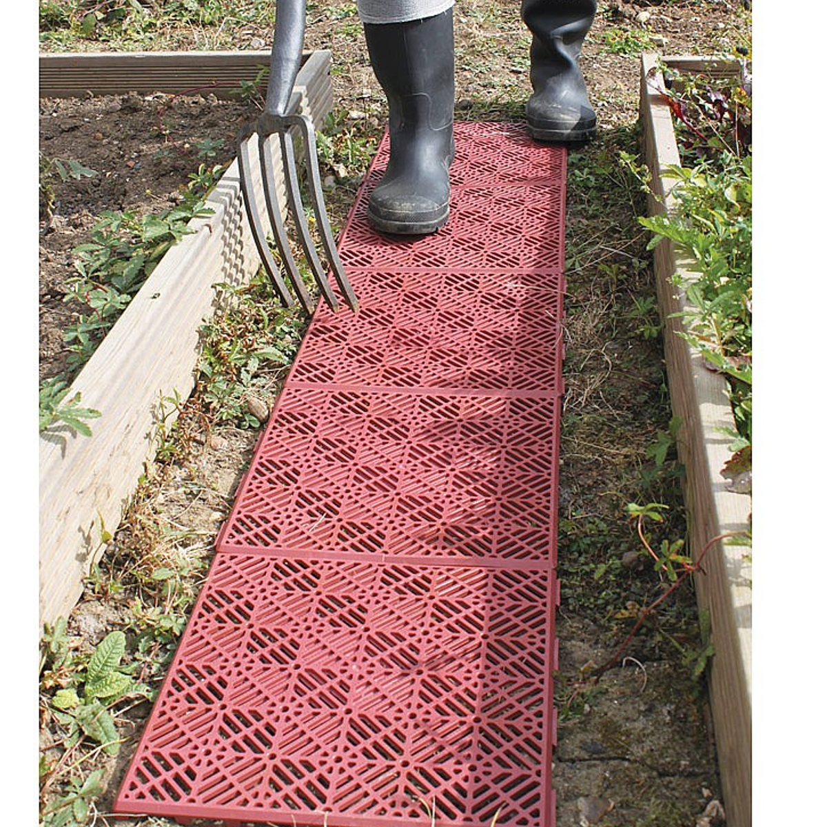 Interlocking non slip garden lawn path plastic tiles for Garden decking non slip