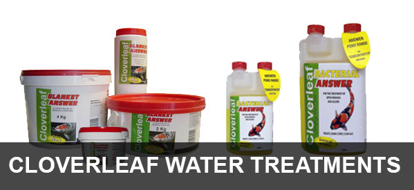 Full range of garden pond water treatments from Cloverleaf including Blanket Answer