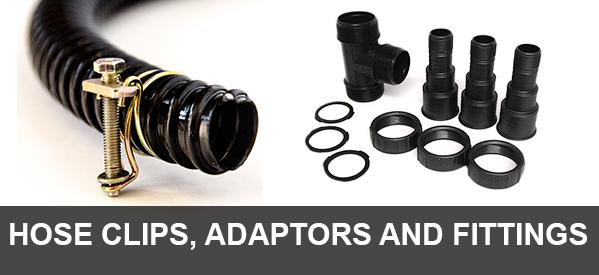 Pond hose clip fittings and adatptors