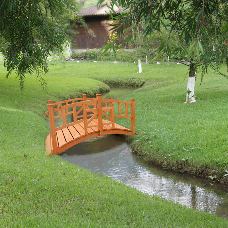 Large oriental wooden foot bridge garden outdoor stream for Fish pond bridges