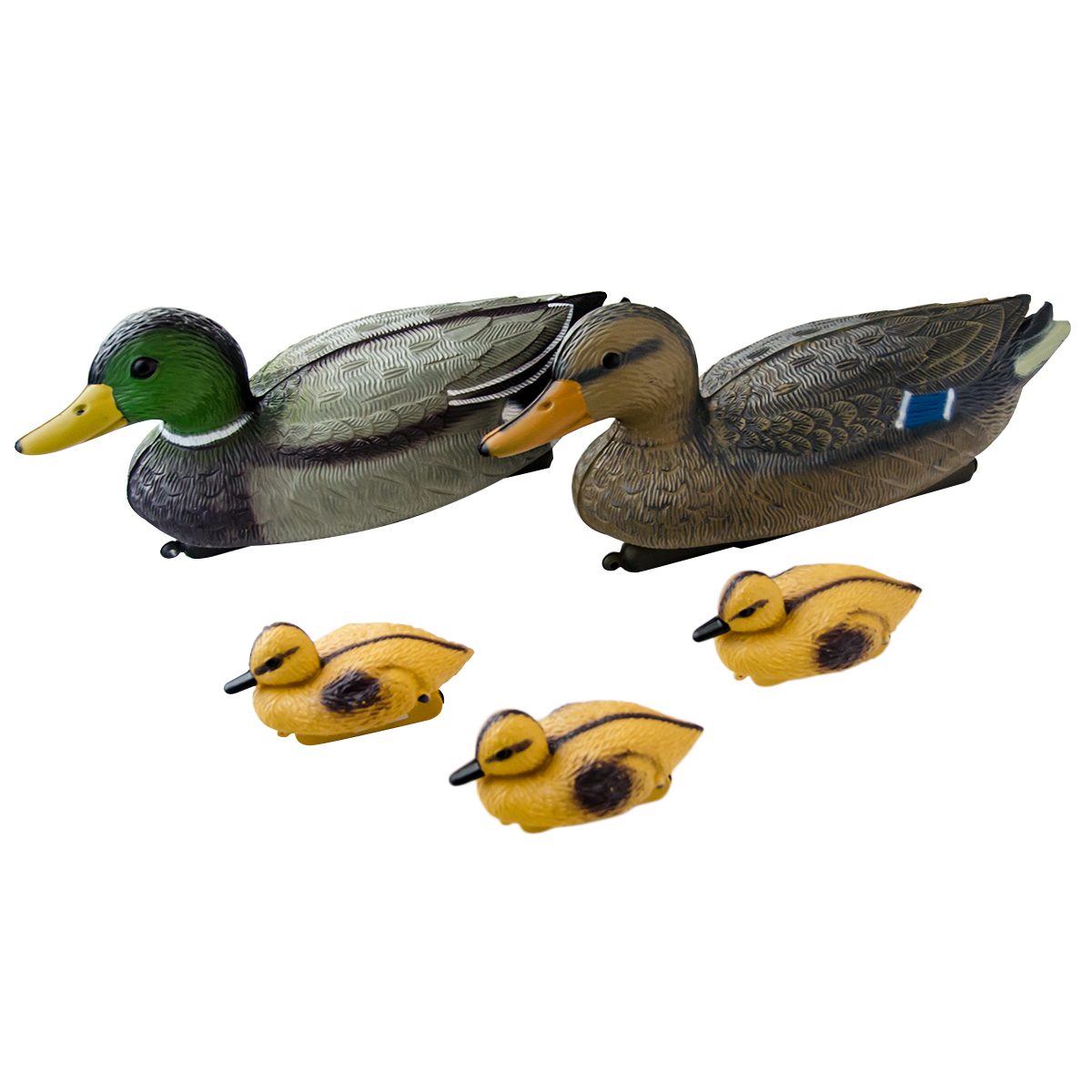 Decoy floating ducks set with ducklings mallard plastic for Fishing for ducks