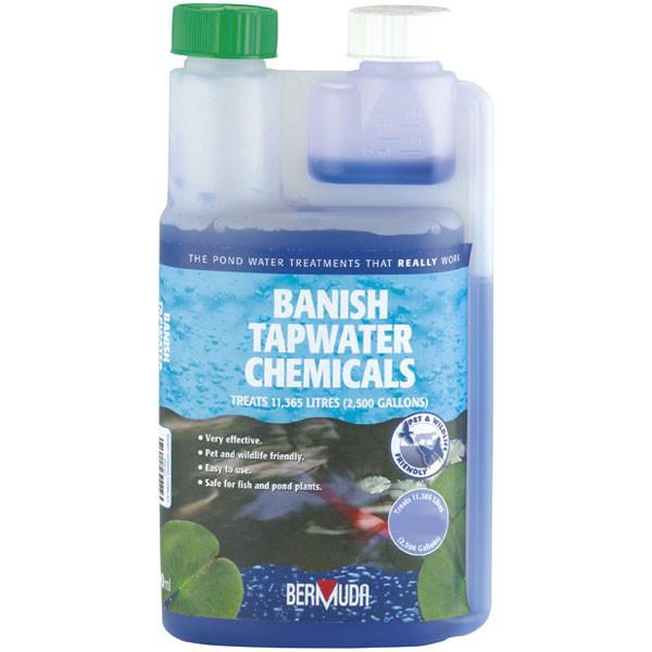 Bermuda 250ml 500ml 1 litre banish tapwater chemicals for Fish pond chemicals