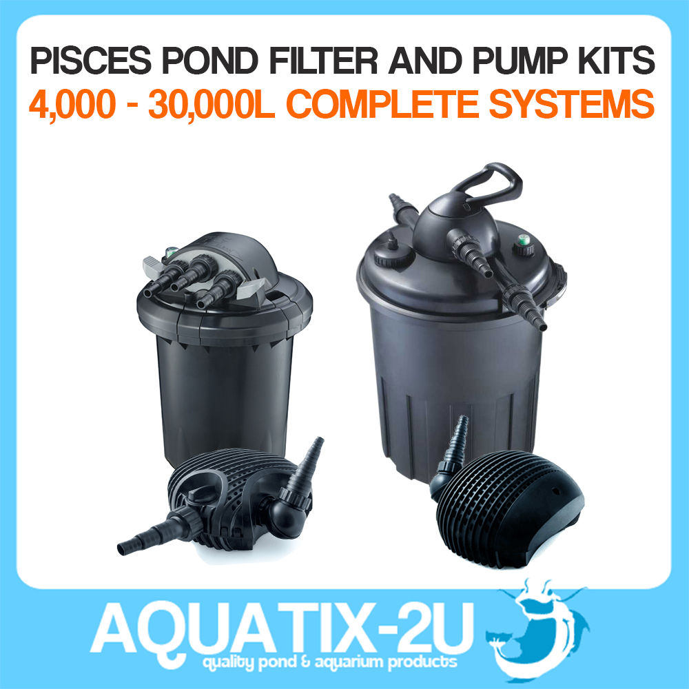 Pisces pond pumps and pressure filter kit complete system for Koi fish pond filter system