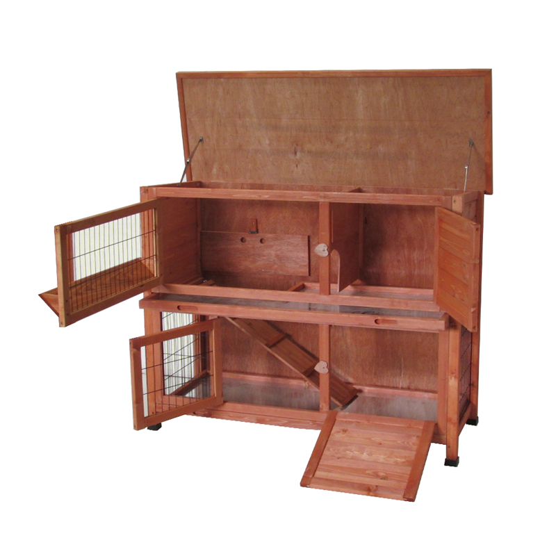 Wooden rabbit hutch for bunny guinea pig ferret wood for Free guinea pig hutch
