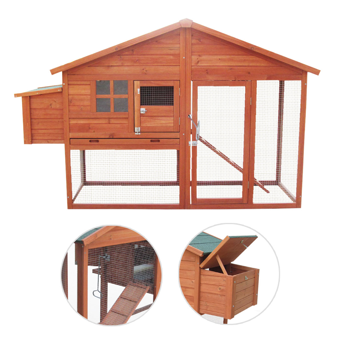 6ft large chicken coop and run with egg nest box poultry for Duck house door size