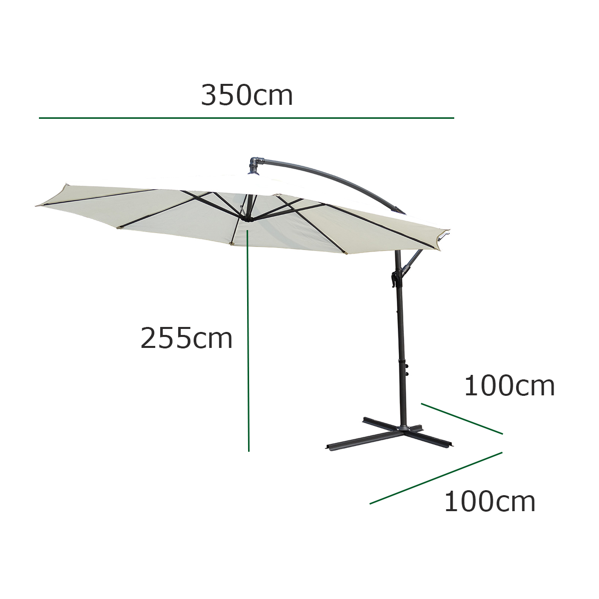 Kct Large Cream 3 5m Cantilever Garden Patio Parasol