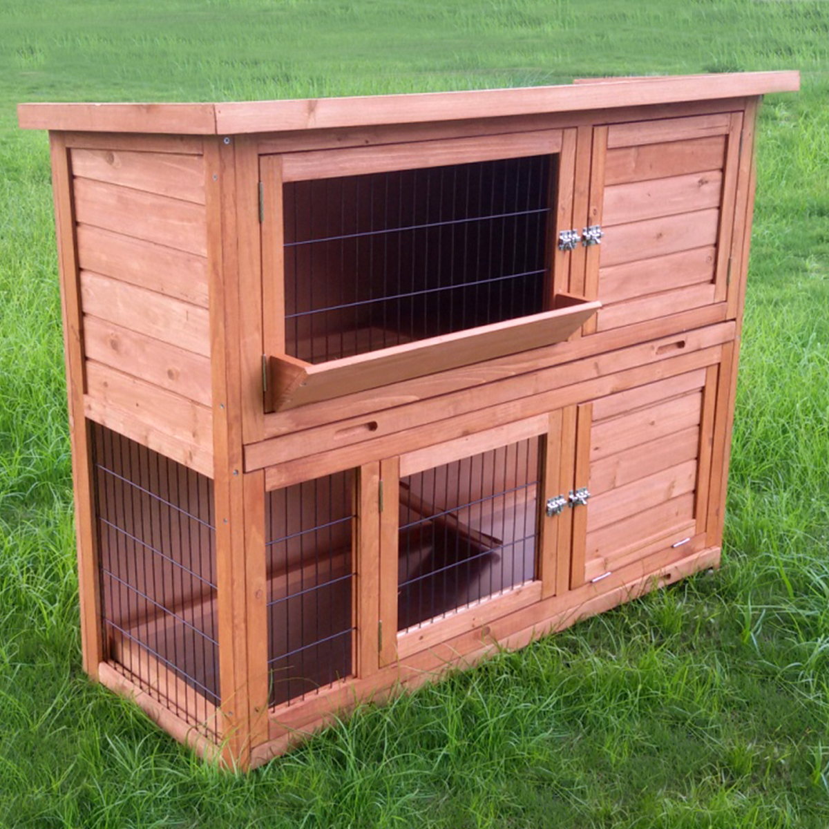 Deluxe 4ft extra large double rabbit hutch guinea pig run for Extra large rabbit cage
