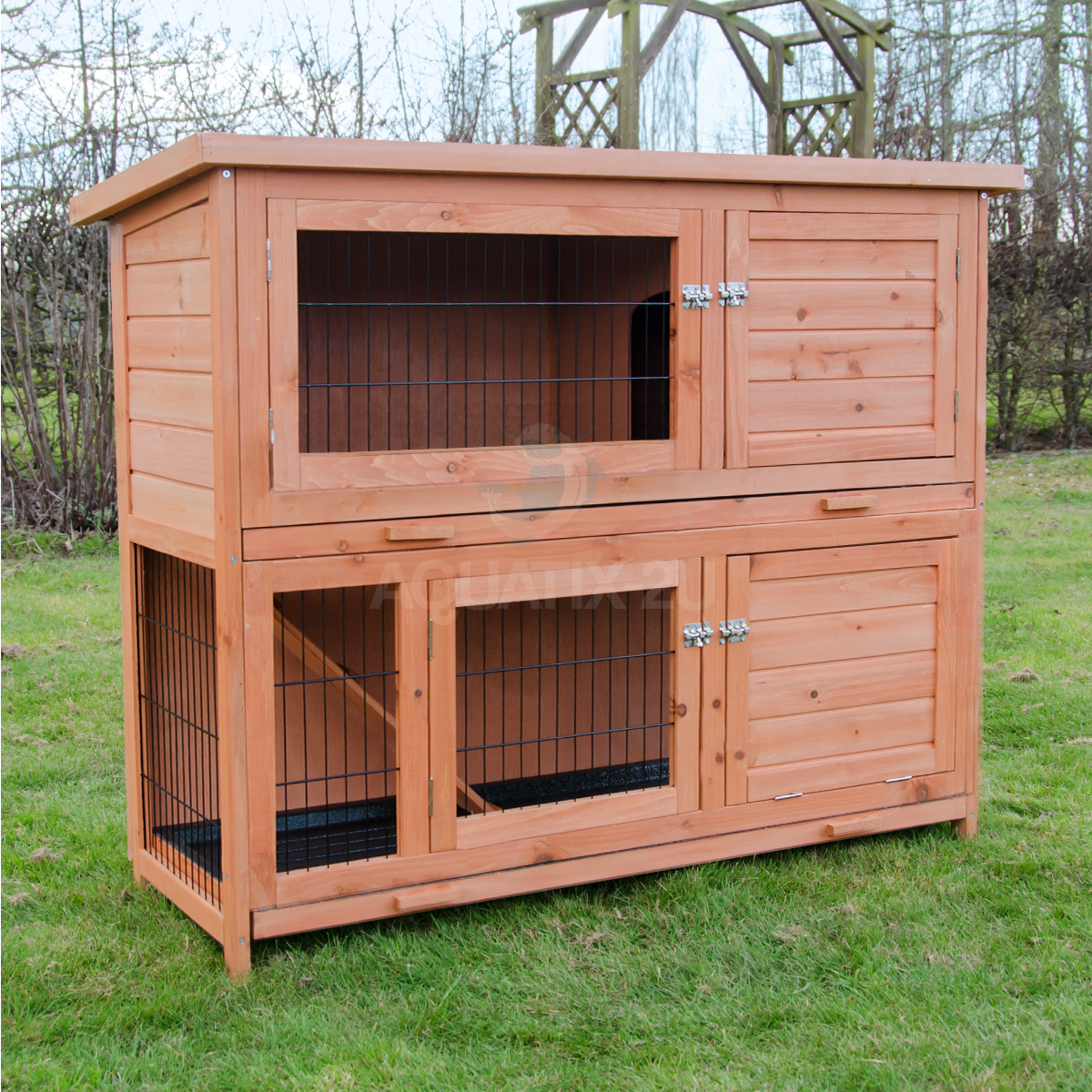 Milan large two tier rabbit hutch with enclosed run pisces for 2 rabbit hutch