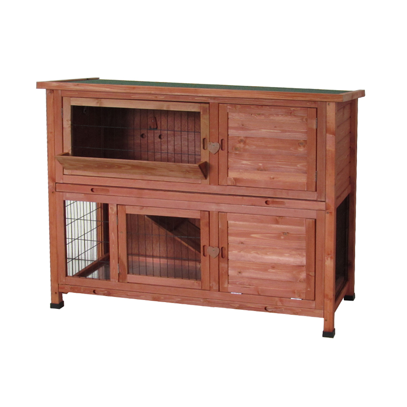 Milan two tier rabbit hutch with enclosed run for 2 rabbit hutch