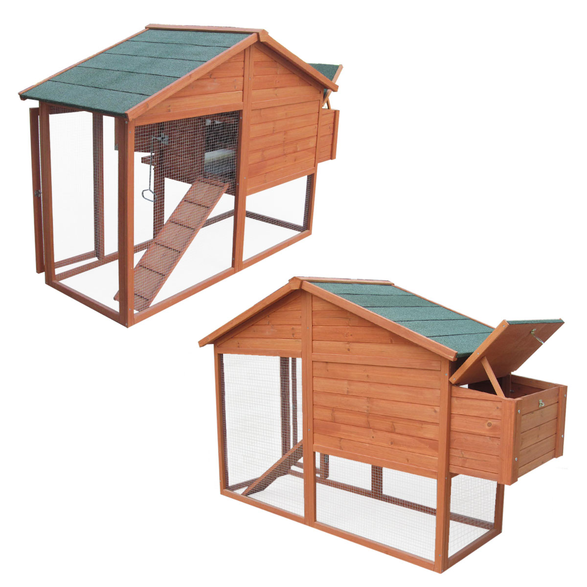 6ft chicken coop with built in run with cover nest box hen for Duck house door size
