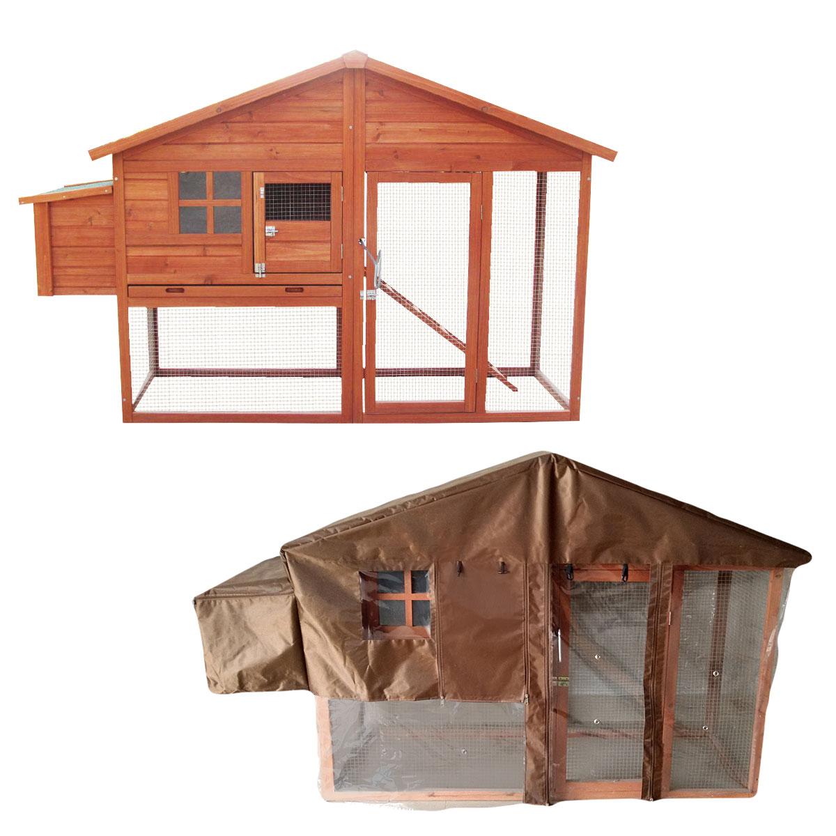 6ft chicken coop with built in run with cover nest box hen for Chicken run for 6 chickens