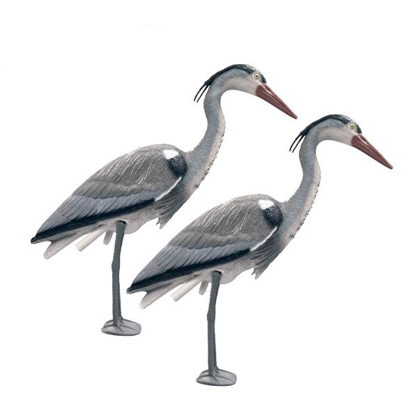 Twin pack decoy heron for garden and pond fish koi carp for Plastic koi fish