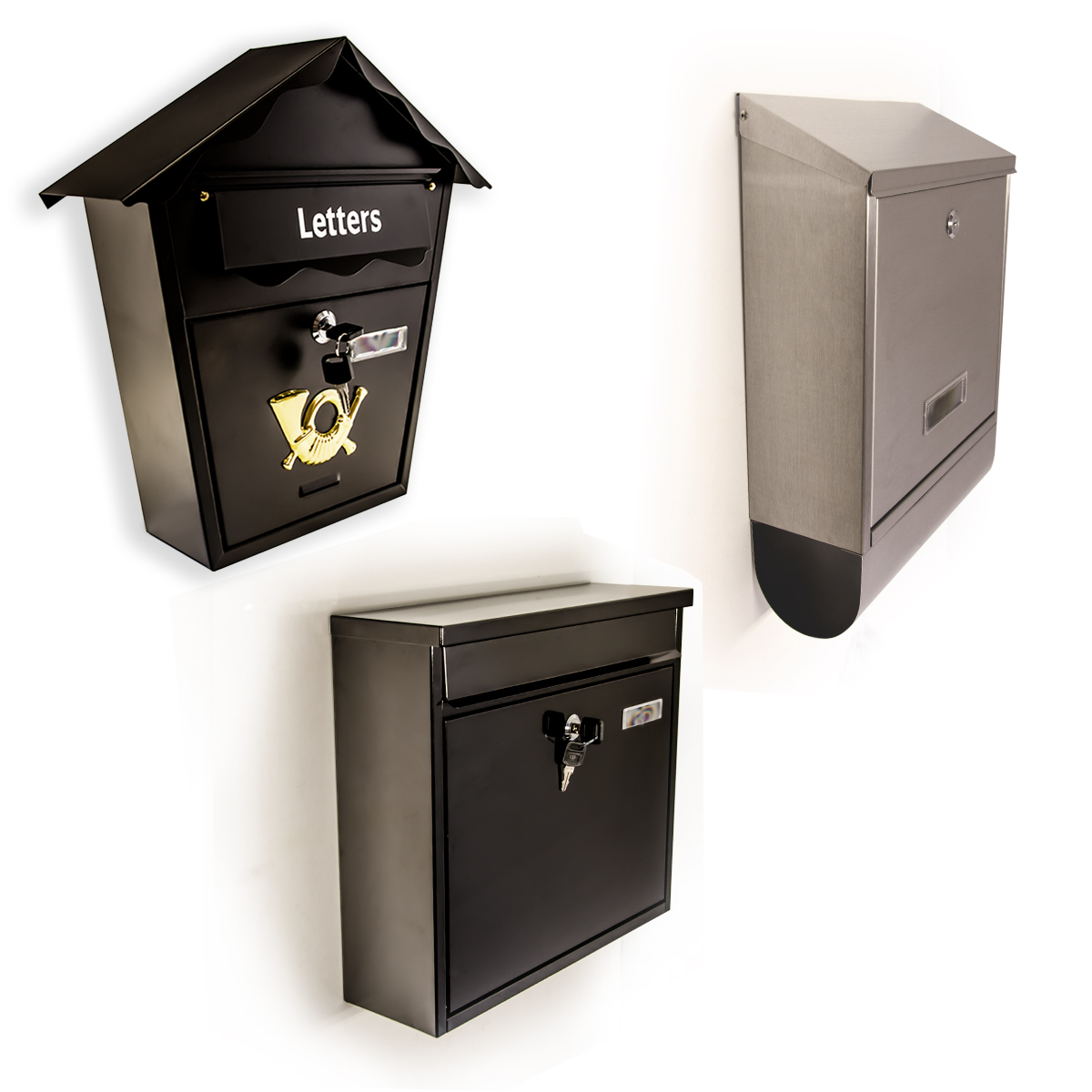 Secure Metal Home Outdoor Mail Post Letter Box Wall