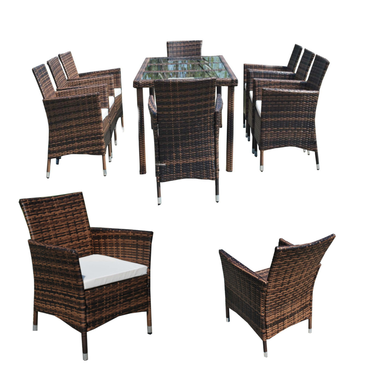 Outdoor brown rattan dining table 8 chairs garden patio for What is wicker furniture