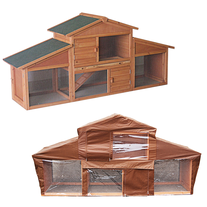 Large wooden rabbit hutch and run with cover outdoor pet for Outdoor guinea pig hutch