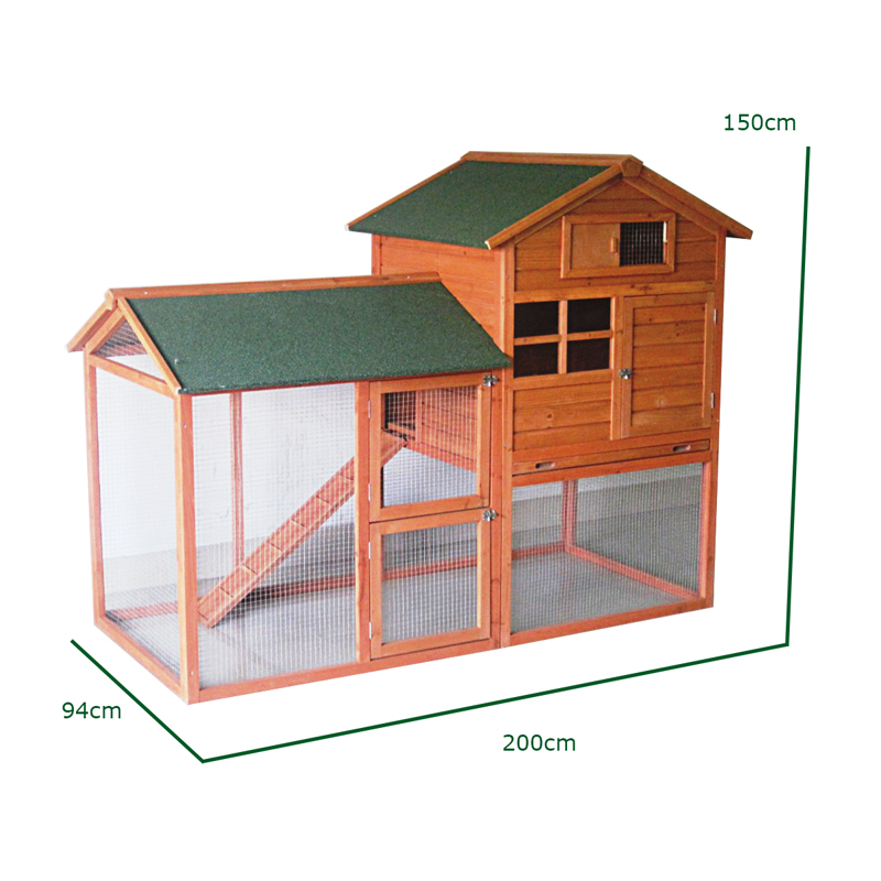 large rabbit hutch and run with cover 7ft wooden pet house. Black Bedroom Furniture Sets. Home Design Ideas