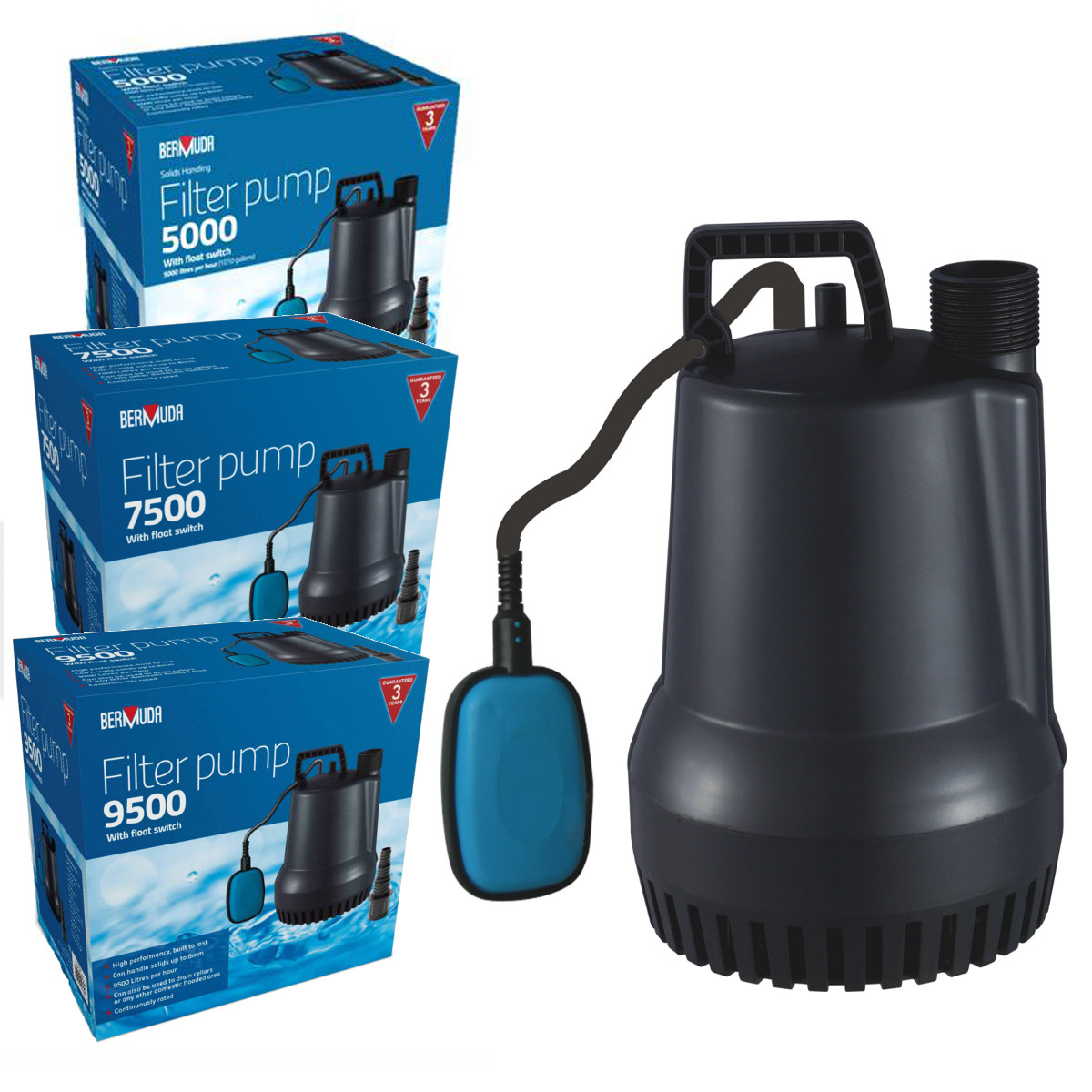 Bermuda submersible filter pond pump with float switch for Best pump for a small pond