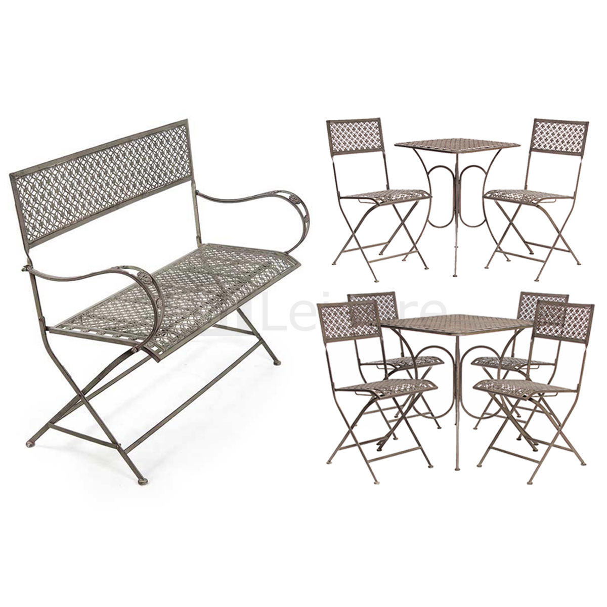 Vintage steel bistro furniture set garden table and chairs for Table and bench set