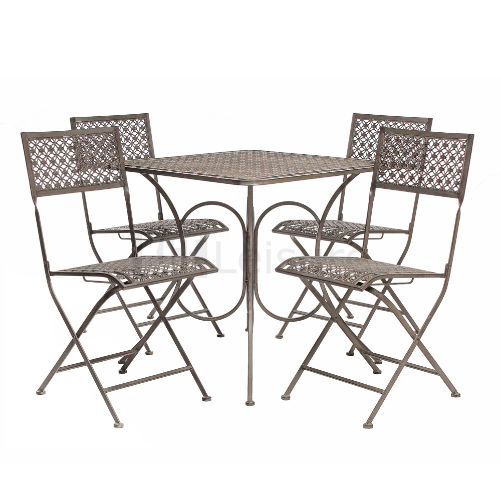vintage steel bistro furniture set garden table and chairs metal patio bench ebay. Black Bedroom Furniture Sets. Home Design Ideas