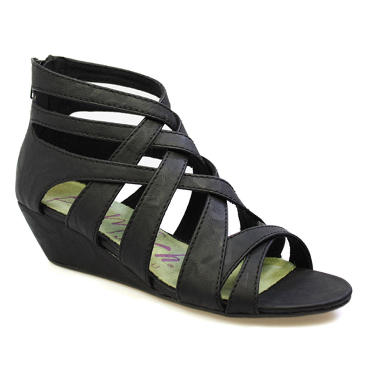 Black Strap Wedge Shoes